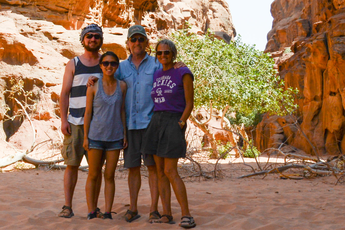 David in Wadi Rum, Jordan with Ben, Li, and Melinda